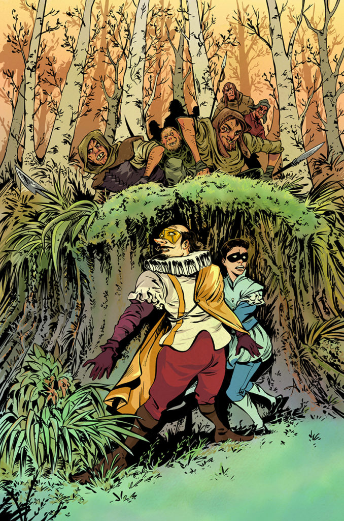 No Holds Bard cover illustration by artist Aneke of a group of bandits closing in on Superhero versions of William Shakespeare and his sidekick, Page