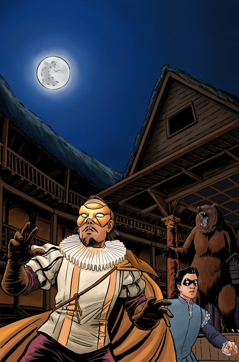 No Holds Bard cover illustration by Pia Guerra, The Superhero William Shakespeare, The Bard, and his sidekick, Page in the Globe Theater at night under a full moon. A bear roars in the background