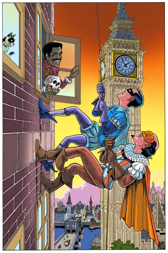 No Holds Bard cover illustration of the Superhero William Shakespeare, The Bard, and his sidekick Page climb a building in London near Big Ben. Sammy Davis Jr. appears in the window, holding a skull. By James Callahan aka Barf Comics