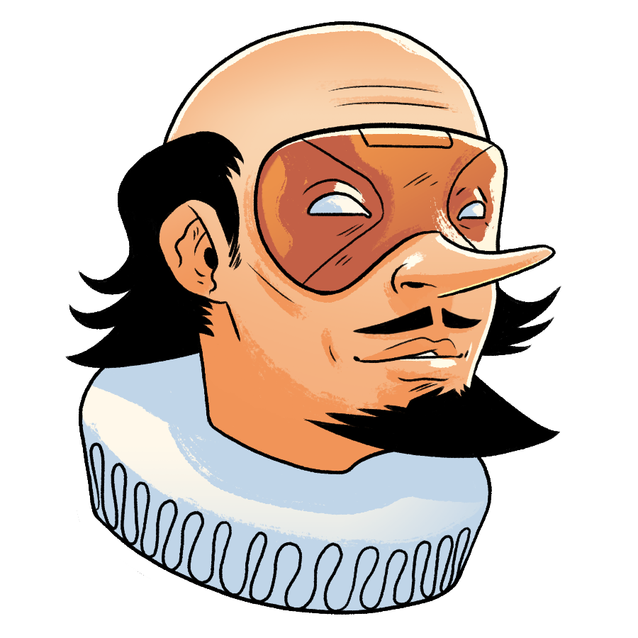 Illustration of the bust of William Shakespeare as the superhero the Bard wearing an orange mask