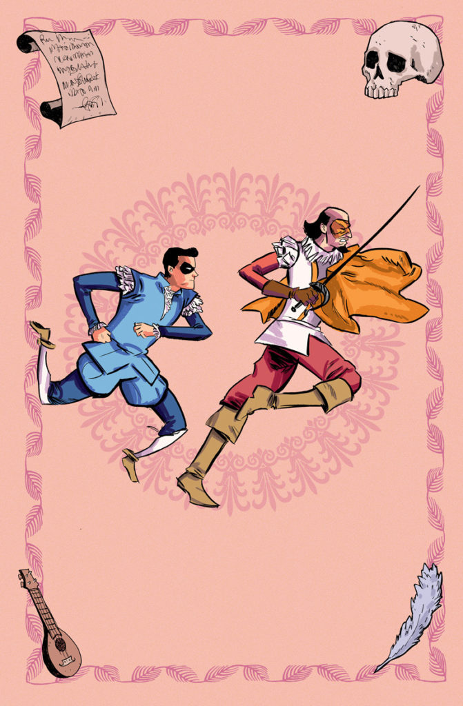 No Holds Bard pin-up illustration by artist Sina Grace of the Superhero William Shakespeare and his sidekick page running on a pink background.